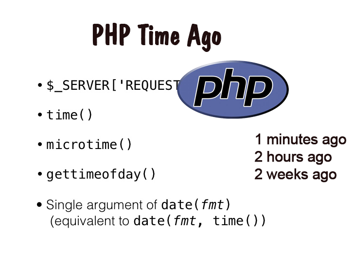 php function time ago