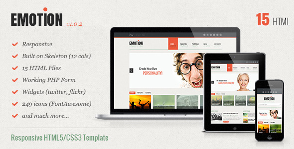 FREE – Emotion Responsive HTML5/CSS3 Template